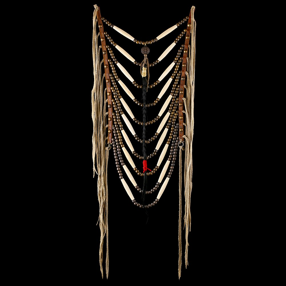 Assiniboine style Loop Necklace with Medalion and Hair Pendant (replica)